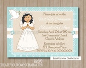 Dove girl First Communion invitation, Create your custom character, Invitación Primera Comunión. Digital Printable también en Español
