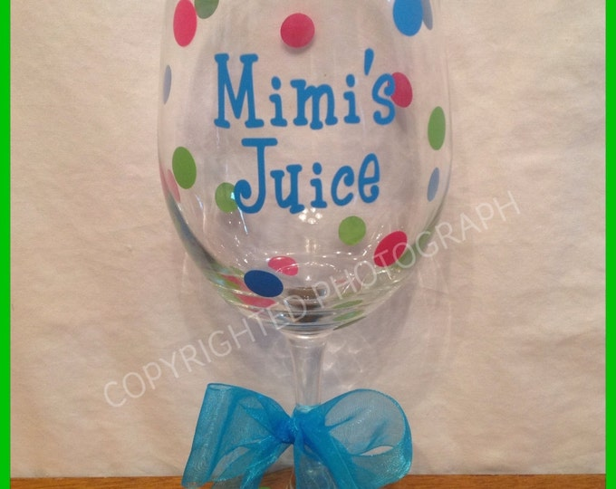 Personalized TALL WINE GLASS Name Initial Word Polka Dots great for Anyone Birthday Bride Bridesmaids Bachelorette Wedding Party 20 oz.