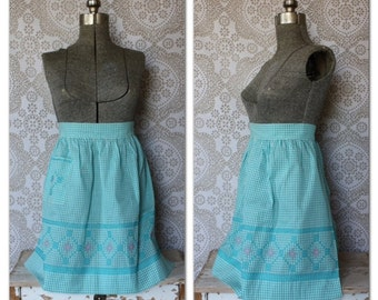 Vintage 1950's Turquoise and Pink Gingham Half Apron