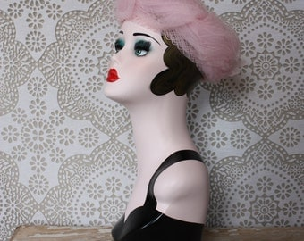 Vintage 1960's Pink Oversized Hat with Netting