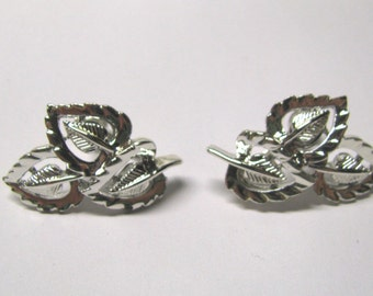 Vintage Silver Tone Leaf Non Pierced Earrings, Signed Coro