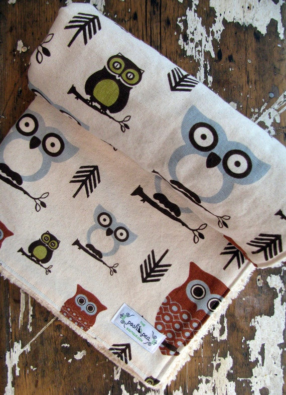 Baby Blanket - Hooty Owl - Chenille or Minky Back - Gender Neutral for Baby Boy or Baby Girl