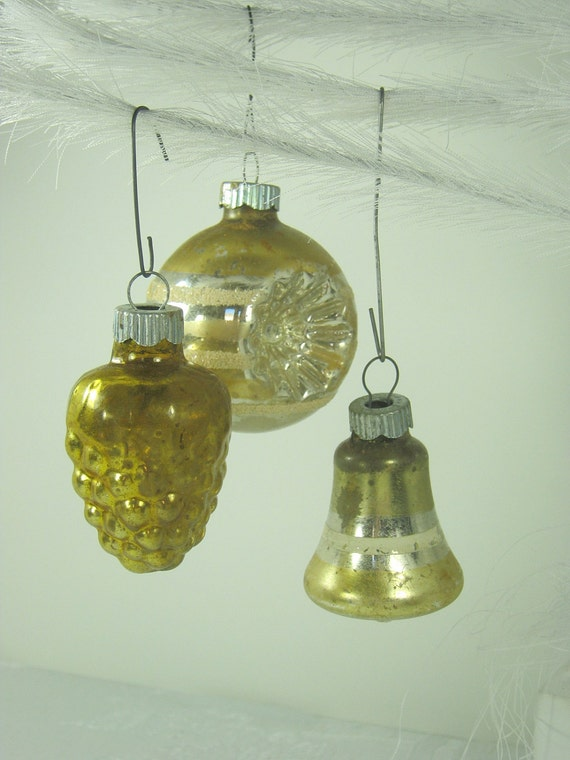 Vintage mercury glass ornaments pale gold christmas tree set