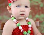 Chunky Necklace Christmas Holiday Red Green White Child Toddler Jewelry