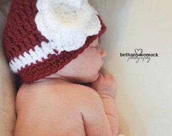 Baby Girl Crimson and White Crochet Flower Hat /Beanie, Georgia Bulldog, Arkansas Razorback, Alabama Crimson Tide, Oklahoma Sooner
