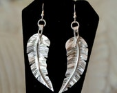 Sterling silver tropical leaf earrings. Long dangle earrings