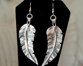 Sterling silver tropical leaf earrings. Long dangle earrings