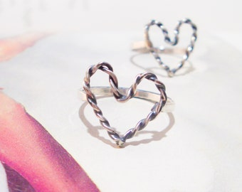 Bound Heart Ring // Sterling Silver