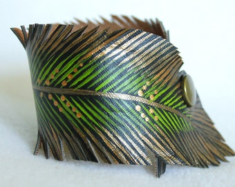 Feather Cut Cuff, Green Gold Feather Bracelet Faux Leather Hand Painted, Vegan Jewelry, Gifts for Her