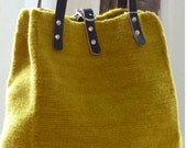 Felted Wool Ochre Tote with Eggplant Leather Handles