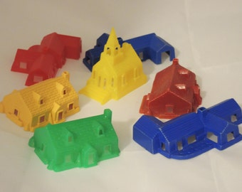 Vintage 1950's Hard Plastic Toy Village Houses