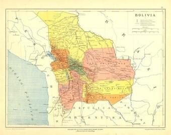 1905 Antique Map of Bolivia  Lithograph Retro Home Decor