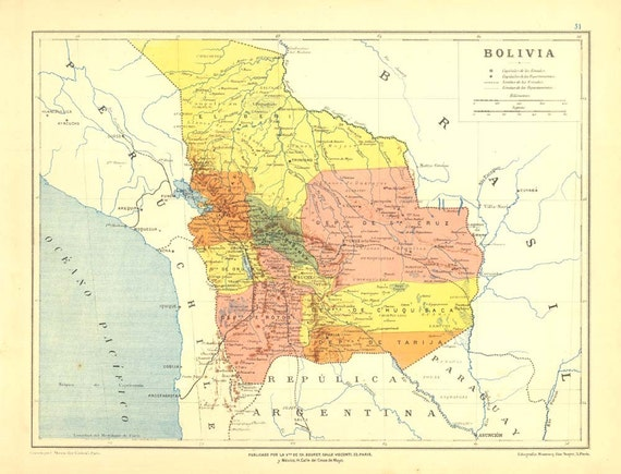 1905 Antique Map of Bolivia  Lithograph Retro Home Decor