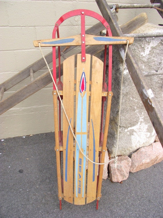 Vintage 1950s Wooden Snow Sled Large Christmas Winter