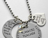 Music Teacher necklace - Choir director necklace - Necklace for teacher - Teacher necklace - Teacher gift - Any text you want that fits!