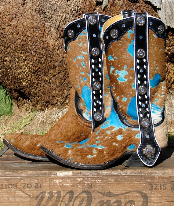 One of a kind Turquoise & Hair on Leather Cowgirl Boots w/ Mule Ears Custom Artisan Made wm 6.5