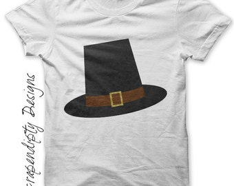 Iron on Thanksgiving Shirt - Pilgrim Hat Iron on Transfer / Toddler Thanksgiving Tshirt / Toddler Boys Tshirt / Cute Holiday Clothes IT30