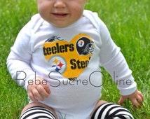 Women's Pittsburgh Steelers Black Football Fun Bodysuit