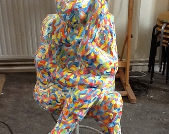 Sculpture Hare polyester painted in bright colours weathertight  50 x 25 x 25 inch