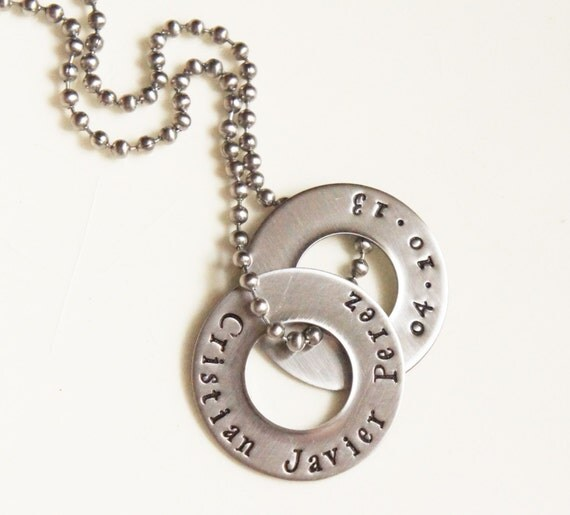 name birth date necklace personalized washer jewelry for him
