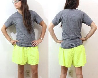SALE Vintage Retro Bright Neon Green Swim Trunk Shorts