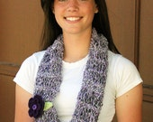 Infinity scarf in purple, black and white