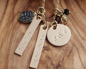 Gold & Diamonds Personalized  Hand Stamped Family Necklace - Names, Dates, Initials, Long  Lat
