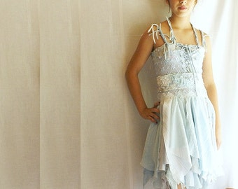 Junior Bridesmaid Dress Fairy Dress for Girl in Pale Blue. Mori Girl Tattered Upcycled Romantic Funky Eco Style.