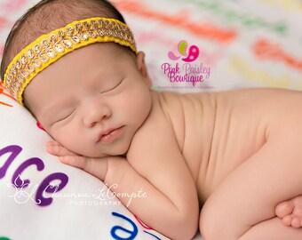 Yellow Halo Baby Headband. Newborn Headband. Baby Girl Headbands. Infant Headband. Baby Hairbows. Baby Hair Accessories. Baby hair bows Bows