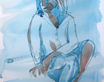 Blue figure - Original Watercolour sketch