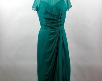 Fabulous Vintage Frank Starr Original Chiffon Evening Dress in Medium Teal Green.  Size 8-10 circa 1960s  REDUCED