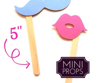 Set of 12 MINI Props - Kid Friendly Mustaches and Lips on a stick -  Blue and Pink - Gender Reveal - Photo Booth Props