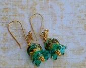 Teal lampwork flower earrings; teal earrings; lampwork earrings; vermeil earrings; SRAJD