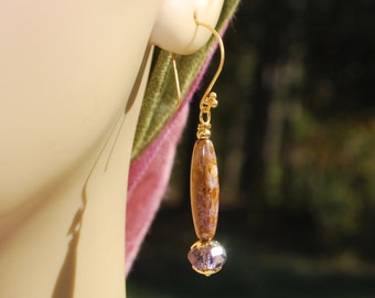SALE***Gold and Lavendar czech glass earrings, vermeil earrings, gold earrings, SRAJD