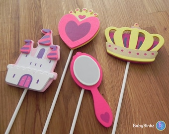 Princess Cake Toppers or Party Decorations castle crown mirror heart princess pink purple gold