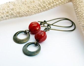 Red Dangle Earrings,Little Hoop Earrings, Red Glass Earrings, Rustic Jewelry Gifts for her