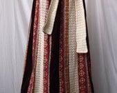 heavy 1970s Chessa Davis Folk Art Patchwork Maxi Skirt Velvet Calico Floral Lace Medium Large