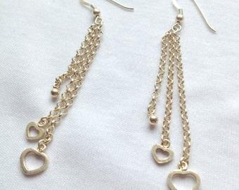 Sterling Silver Drop Hook Heart Earrings