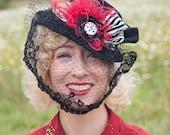 "1940s Perch Tilt Hat Black ""Olivia"" in Black Felt Red feathers MOE Challenge"