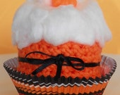 Halloween Fall Autumn Orange Washcloth Cupcake With Mini Pumpkin Soap - OldRedBarnProduction
