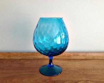 Blue Art Glass Brandy Snifter Balloon Vase