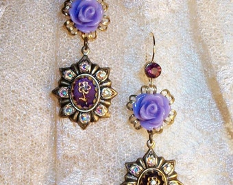 "GLASS MIRROR & Rhinestone Earrings - ""Scent of Lavender"" - Purple Rhinestones, Lavender Roses, Aged Brass w/ Purple Mirror Cabs, AB Stones"