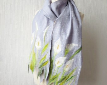 Calla lilies. Soft wet felted silvery gray scarf with white flowers