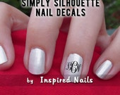 Classic Three Initial Monogrammed Nail Decals in Vine Script