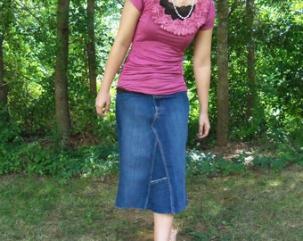 Jean Skirt, Knee Length, Made To Order