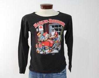Vintage 90s 3D Emblem Harley Davidson T Shirt Screen Tee Shirt Biker Motorcycle Ugly Christmas Sweater Santa Clause 1990s Medium M