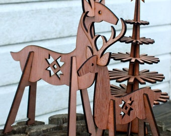 my dear: christmas deer, reindeer, lasercut plywood, flatpack for self-assembly