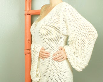 Gean - Cream Natural Custom Sweater Custom Colors V-Neck Oversized Knit Sweater by Eva Bella