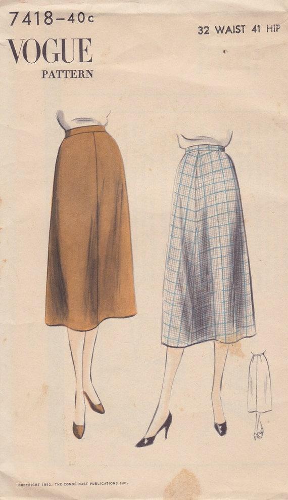 1952 four a line skirt vintage pattern vogue 7418