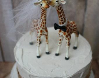 Giraffe wedding cake topper-animal-wedding cake topper-giraffe-wedding-just married-bride and groom-cake topper-custom-jungle-zoo-safari